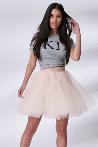 Nude Mini Tulle Skirt