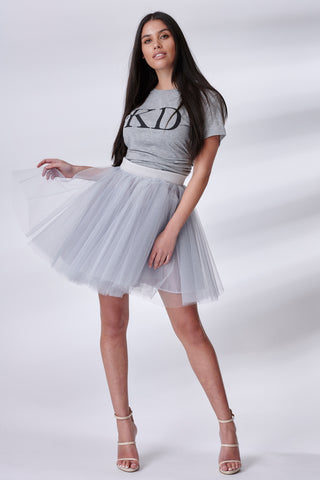 Silver Mini Tulle Skirt