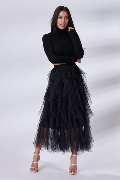 Black Tiered Sheer Tulle Skirt