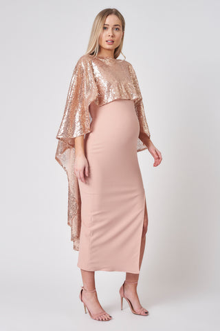 Dusty Pink Side Slit Maternity Midi Dress
