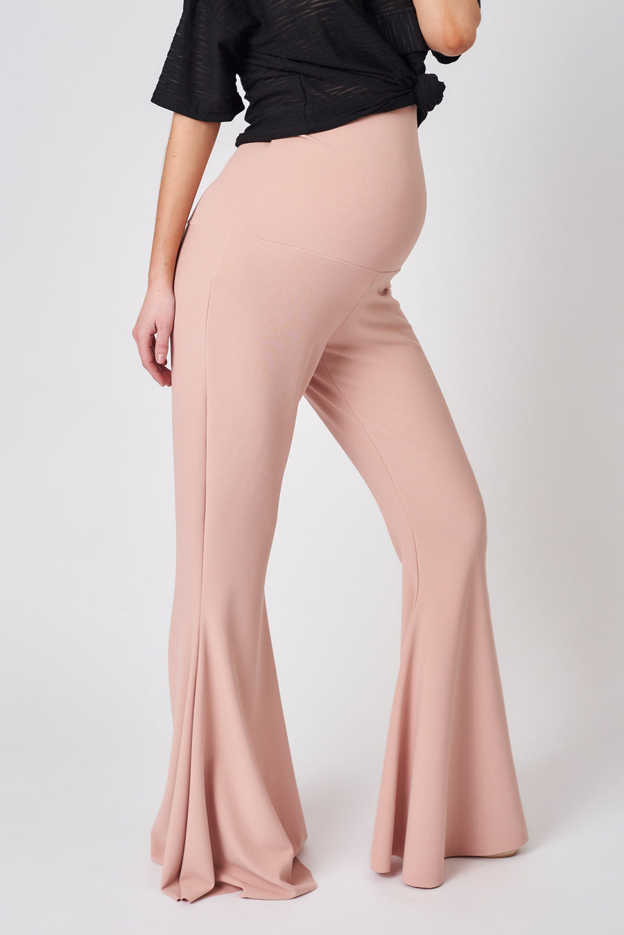 Dusty Pink Maternity Stretch Flares