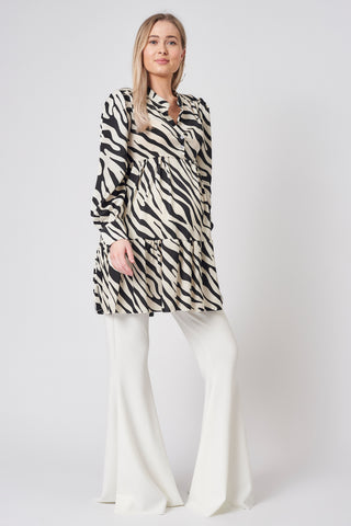 Monochrome Zebra Print Tunic Maternity Dress
