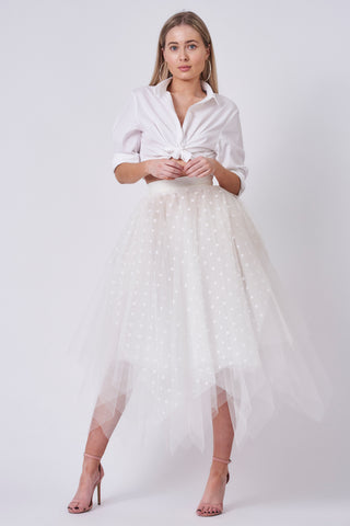 Ivory Polka Dot Choppy Tulle Skirt