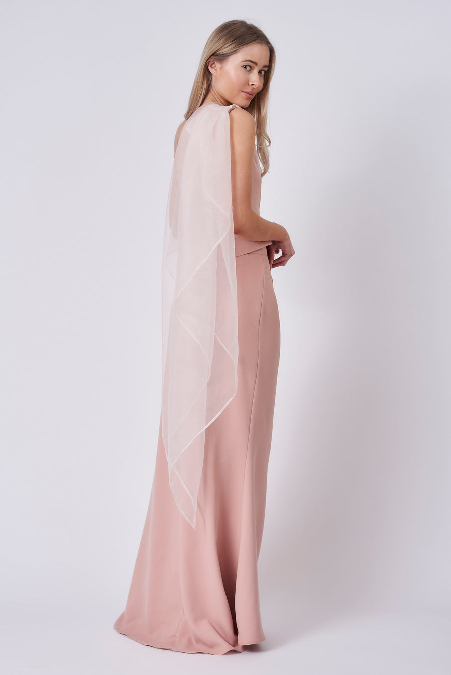 Dusty Pink Organza Draped Dress