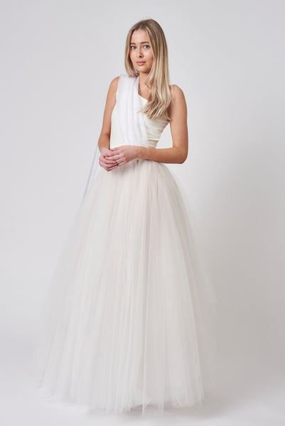 Ivory Organza One Shoulder Tulle Dress