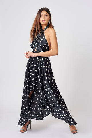 Black Polka Dot Halter Neck Dress