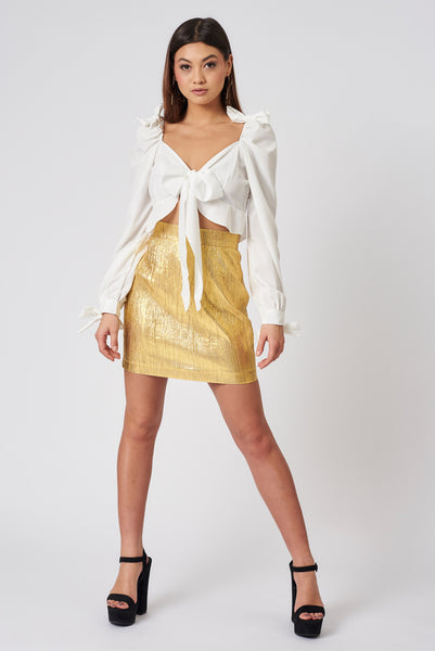 Gold Crushed Metallic High Waisted Skirt