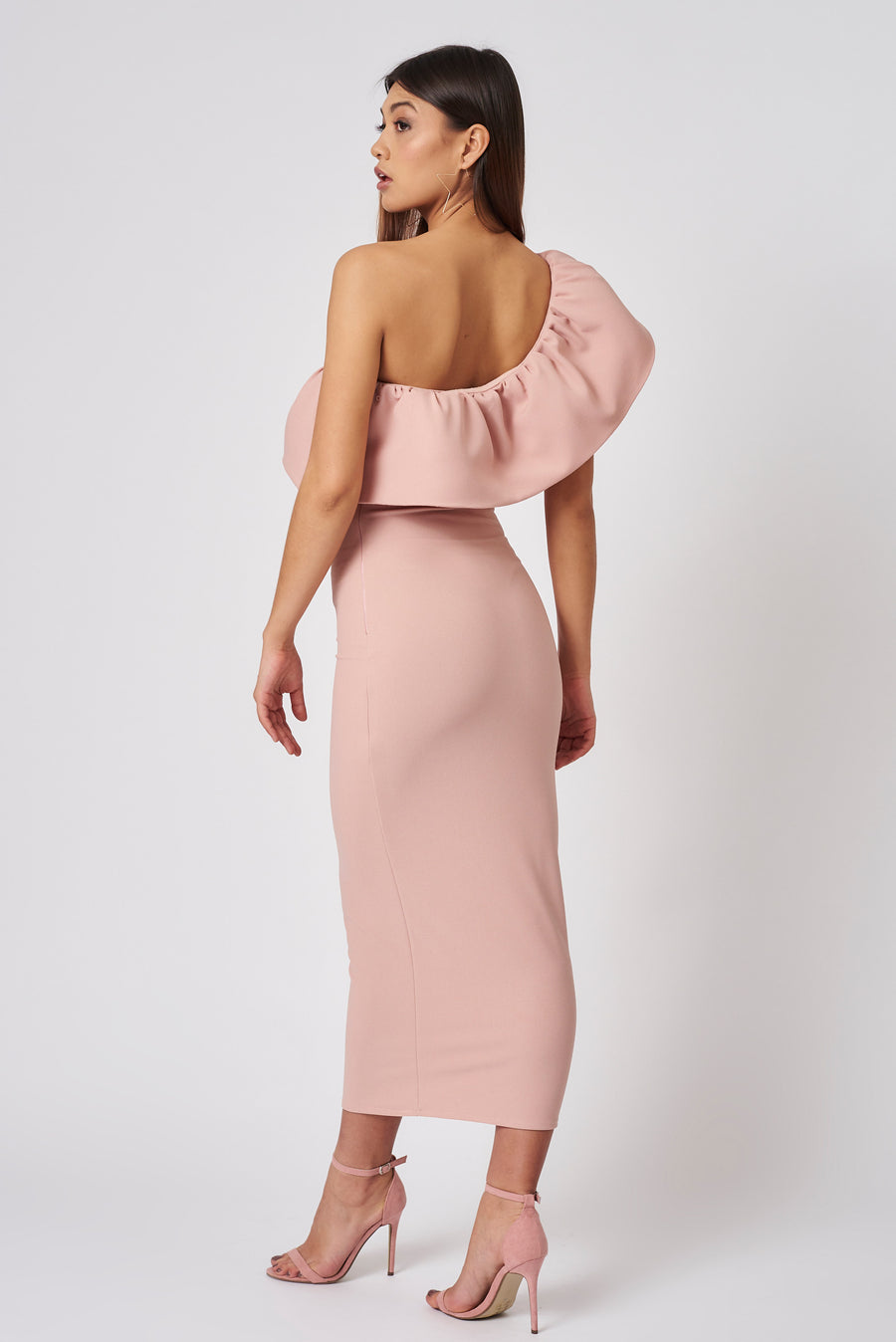 Dusty Pink One Shoulder Midi Dress