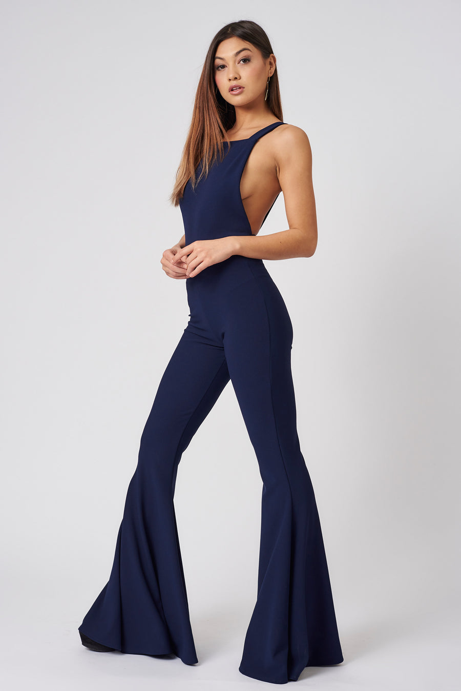 Navy Pinafore Flared Jumpsuit