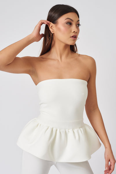 Ivory Clement Bandeau Peplum Top