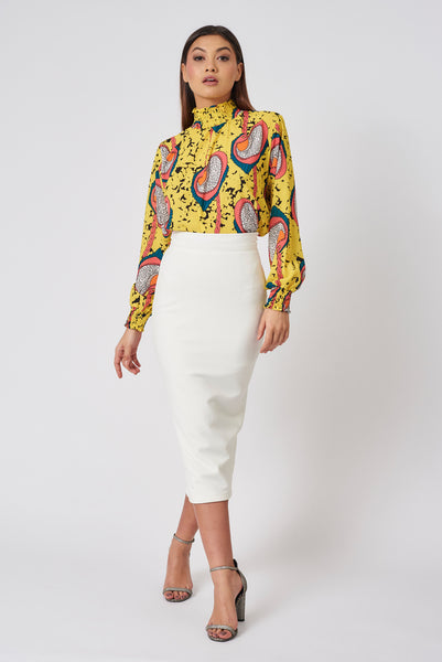 Ivory Stretch Pencil Skirt