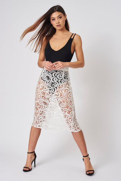 Ivory Swirl Sequin Pencil Skirt