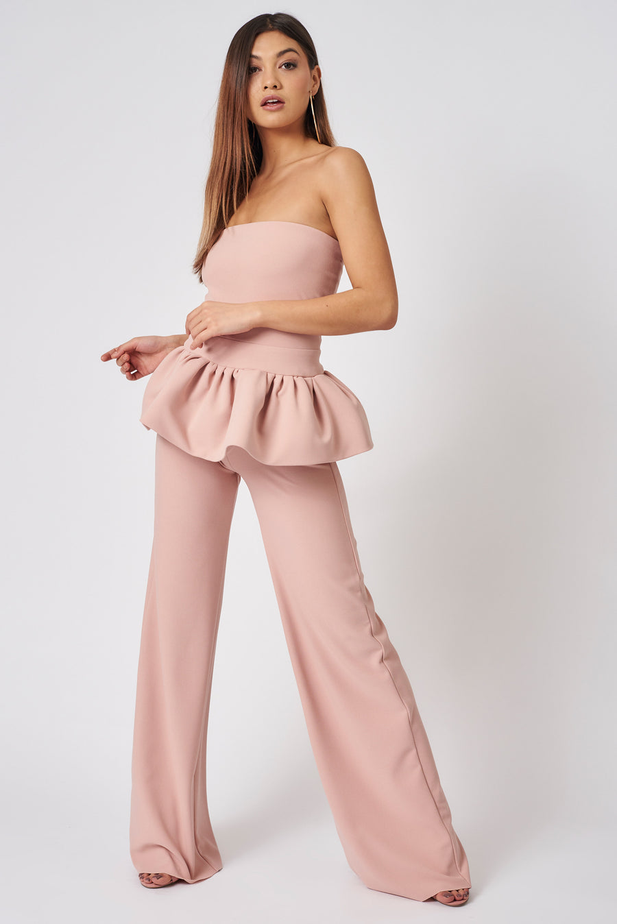 Dusty Pink Clement Bandeau Peplum Top