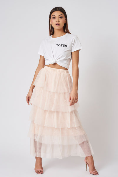 Coral Tiered Pearl Studded Tulle Skirt