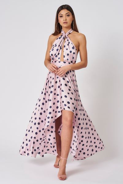 Pink and Navy Polka Dot Halter Neck Dress