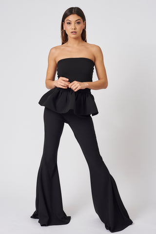 Black Clement Bandeau Peplum Top
