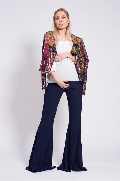 Navy Maternity Stretch Flares