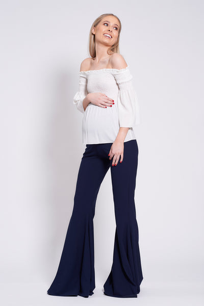 Ivory Smocked Bardot Maternity Top