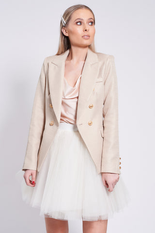 Beige Textured Button Detail Blazer