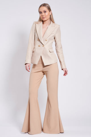 Beige Stretch Flares