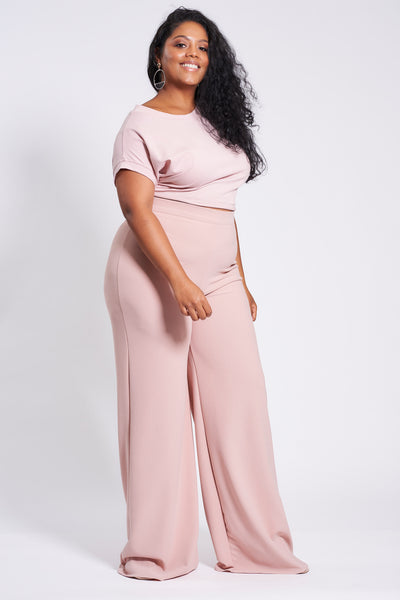 Dusty Pink Stretch Straight Leg Trousers