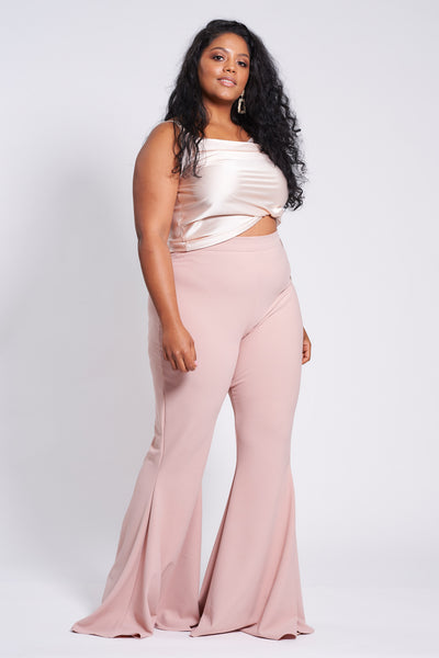 Dusty Pink Stretch Flares