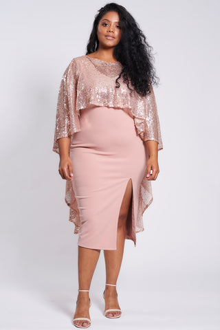 Dusty Pink Side Slit Midi Dress