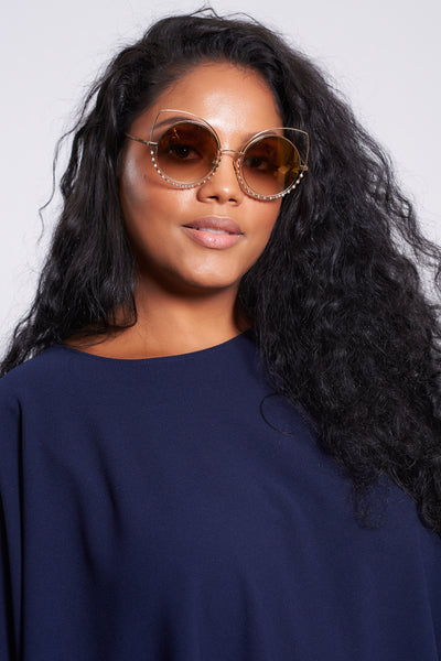 Gold Frame Tinted Cat Eye Sunglasses