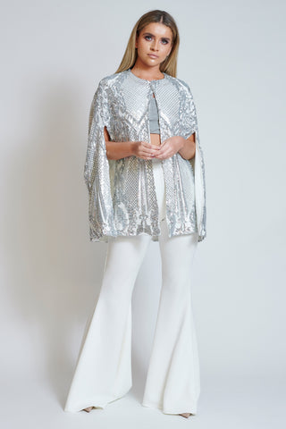 Silver Coveted Sequin Cape Top