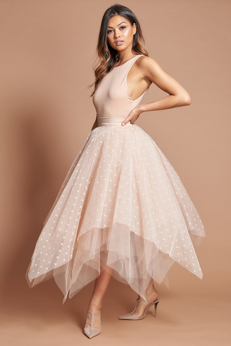 Beige Polka Dot Choppy Tulle Skirt