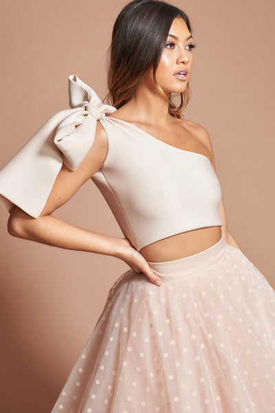 Nude One Shoulder Bow Top