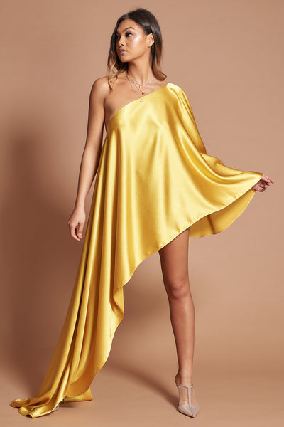 Mustard Sheen Asymmetric Drape Dress