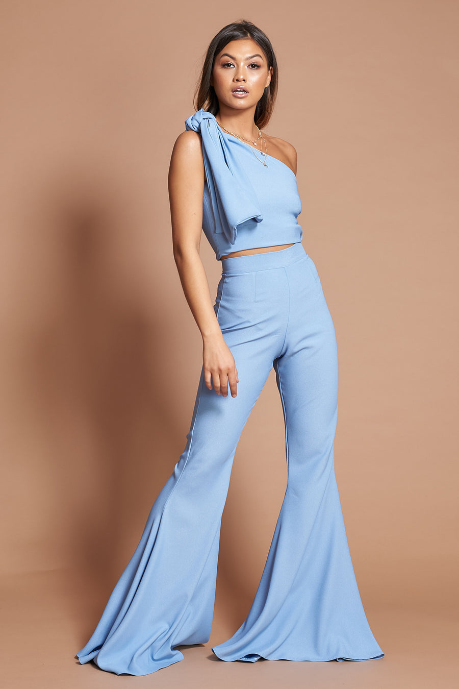 Powder Blue Crepe Flares
