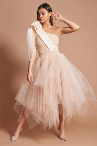 Nude Organza Bow Tulle Dress