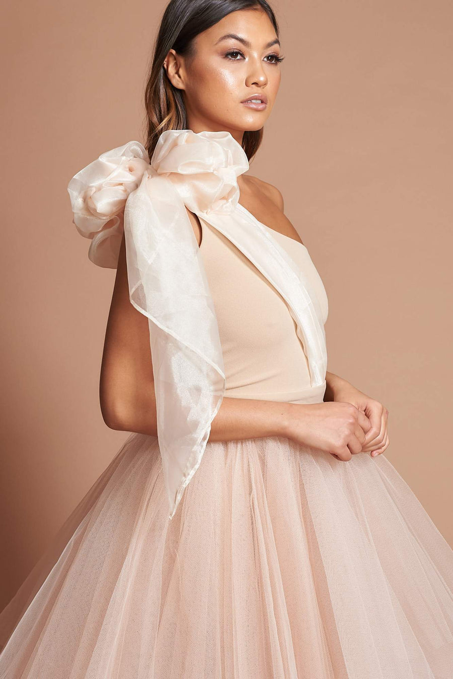 Beige Organza Bow Dress