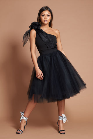 Black Organza Bow Tulle Dress