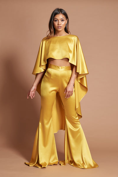 Mustard Satin Roxy Suit