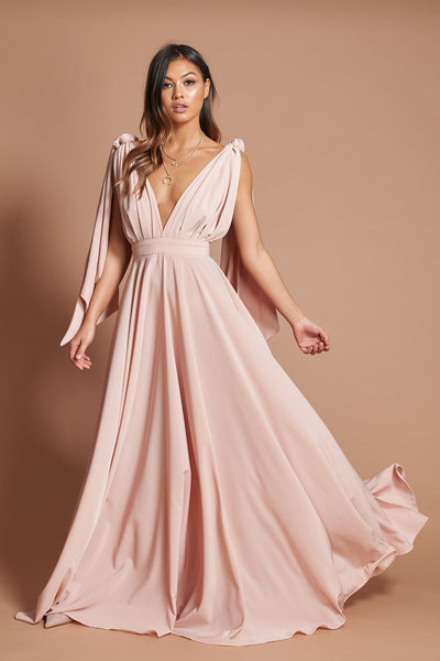 Dusty Pink Pleated Maxi Dress