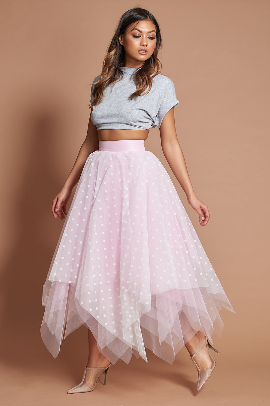 Pink Polka Dot Choppy Tulle Skirt