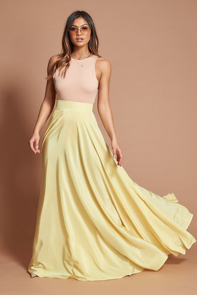 Lemon Split Maxi Skirt