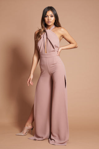 Dusty Rose Halter Neck Jumpsuit