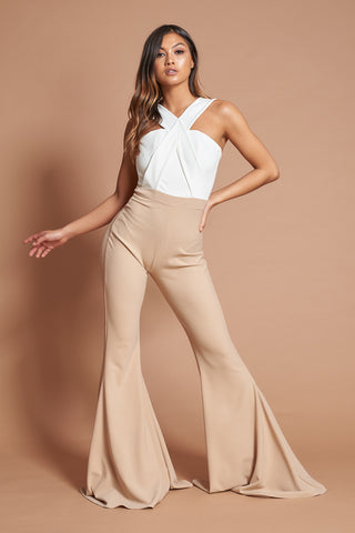 Ivory and Beige Cross Over Jumpsuit