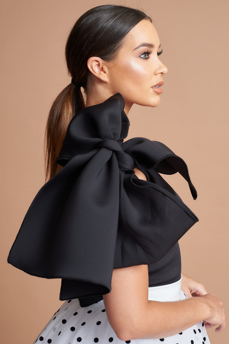 Black One Shoulder Bow Top