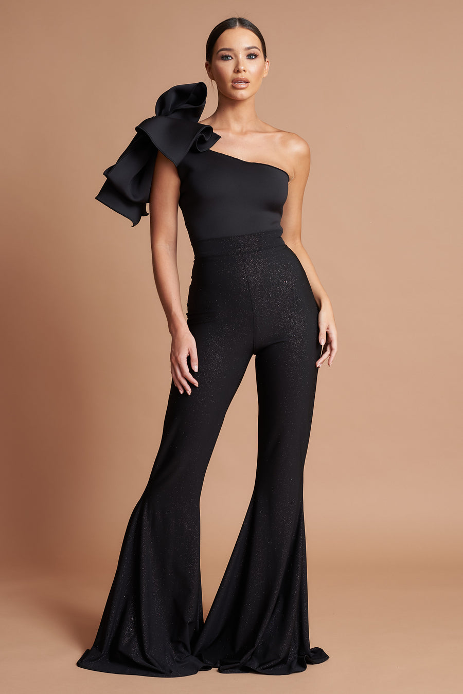 Black Sparkle Stretch Flares