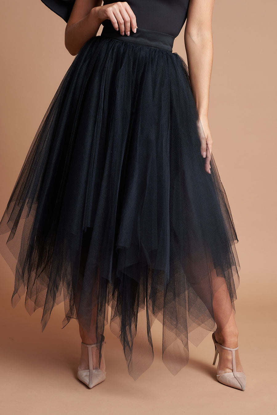 Black Choppy Tulle Skirt