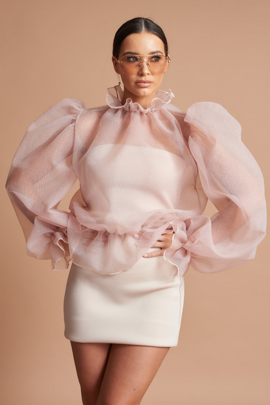 Burnt Sienna Organza Ruffle Top