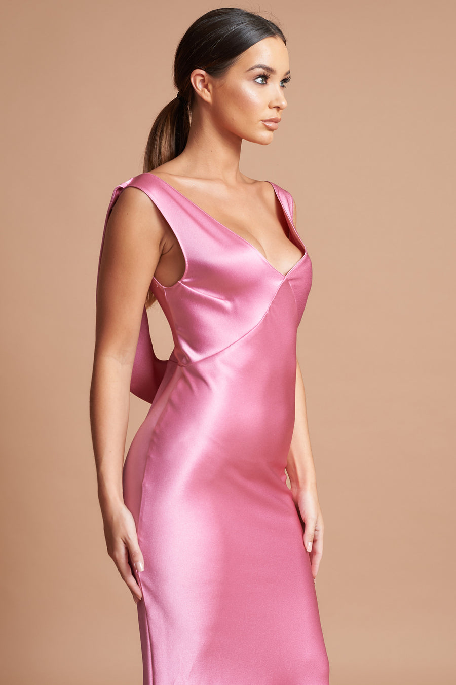 Pink Sheen Cowl Back Dress