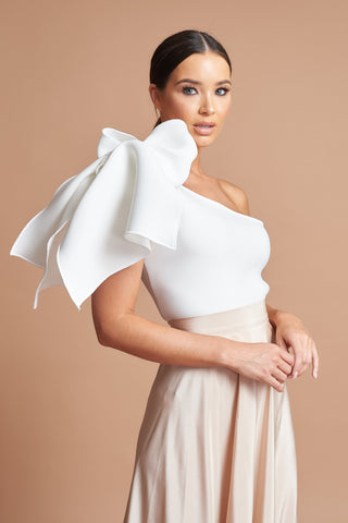Ivory One Shoulder Bow Top