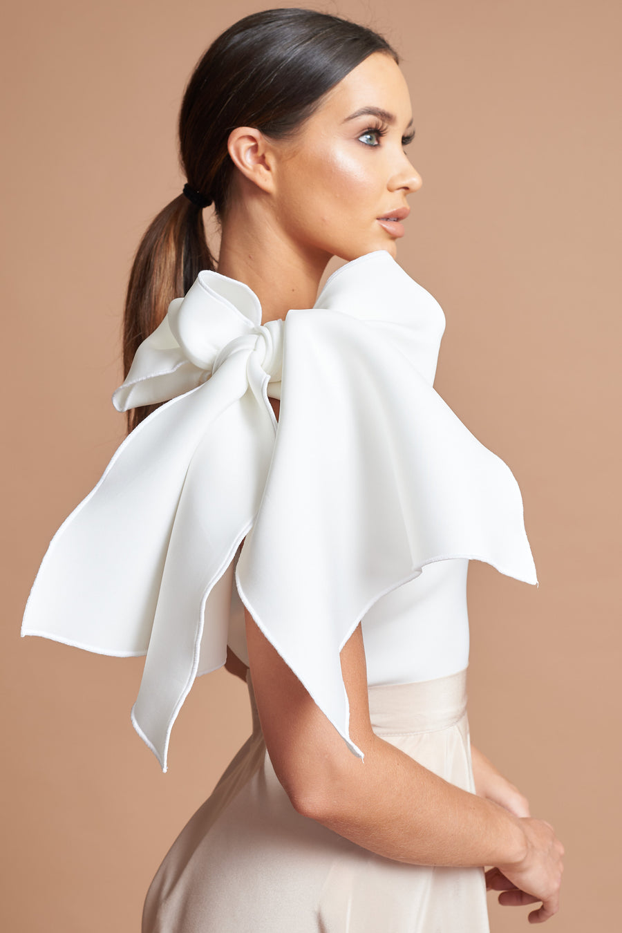 Ivory One Shoulder Bow Top - SALE