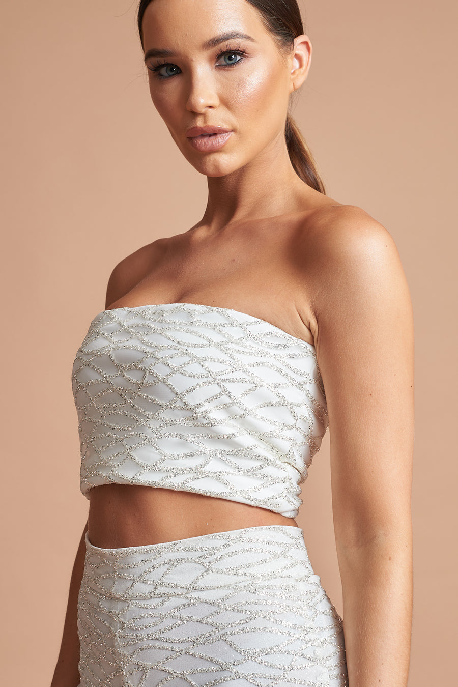 Ivory Geo Sequin Bandeau Top
